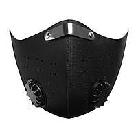 Чёрная защитная маска  HLight с клапаном+ 5 сменных фильтров, фото 7