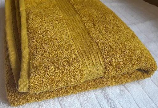 Полотенце махровое с бордюром 40х70 горчичное 400 г/м²