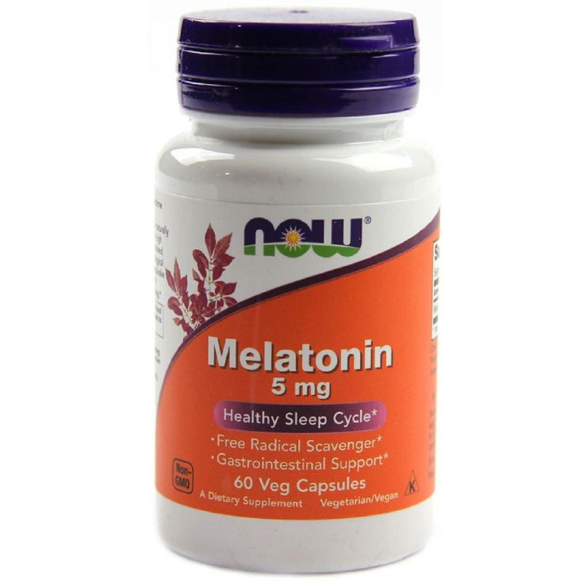 Мелатонин, Melatonin, Now Foods, 5 Мг, 60 капсул