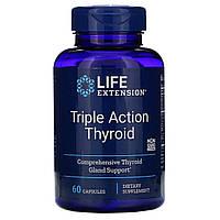 Підтримка Щитовидної Залози, Тироїд потрійної дії, Triple Action Thyroid, Life Extension, 60