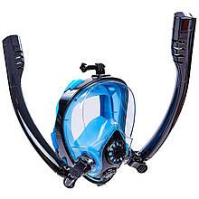 Маска для снорклінга з диханням через ніс з двома трубками HJKB
