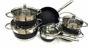 Набор посуды из нержавеющей стали Benson BN-293 12 предметов Черный (500031)