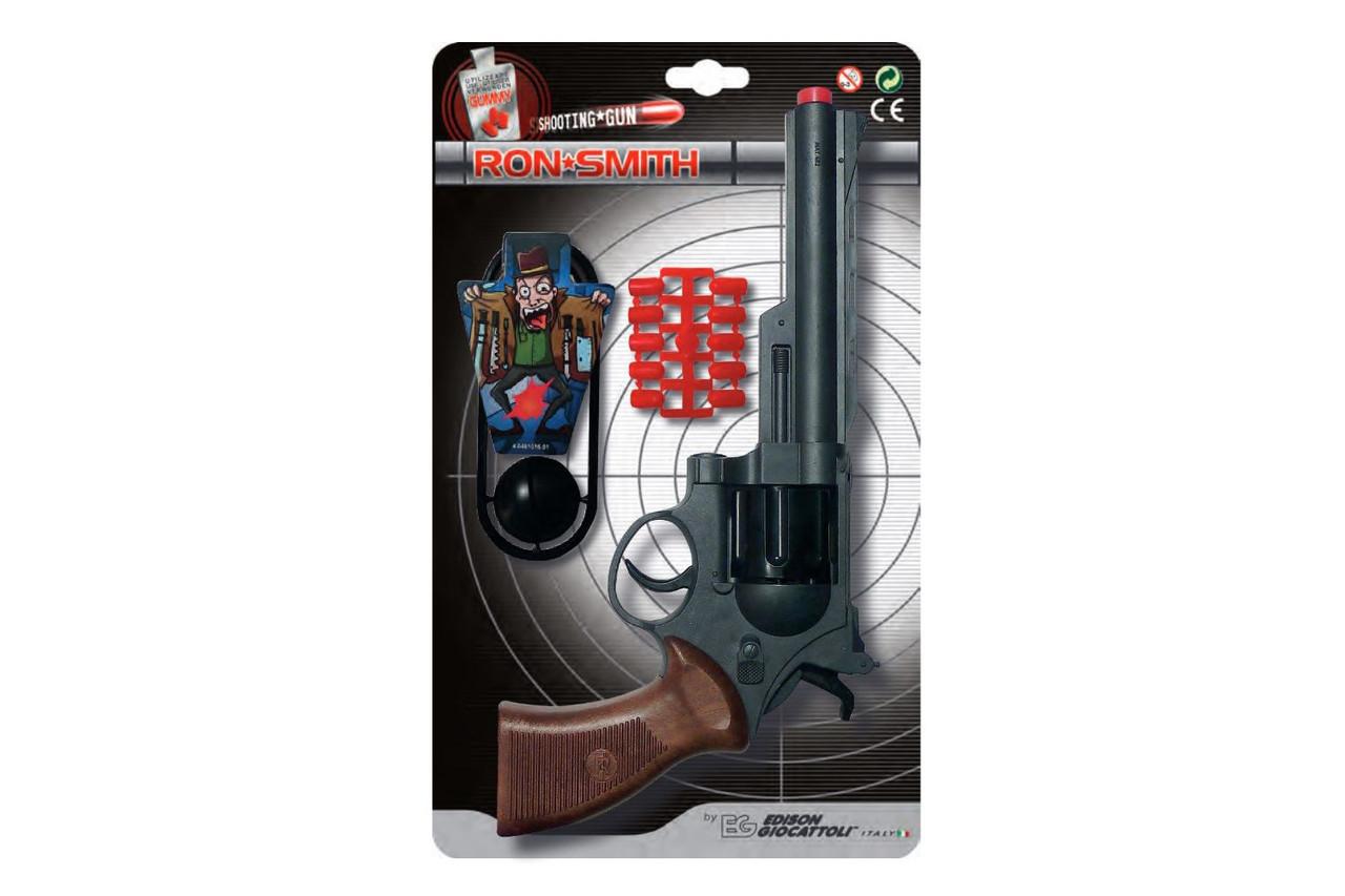 Іграшковий пістолет на пульках Edison Gіocattolі Ron Smith 28см 8-зарядний з мішенню (463/33)