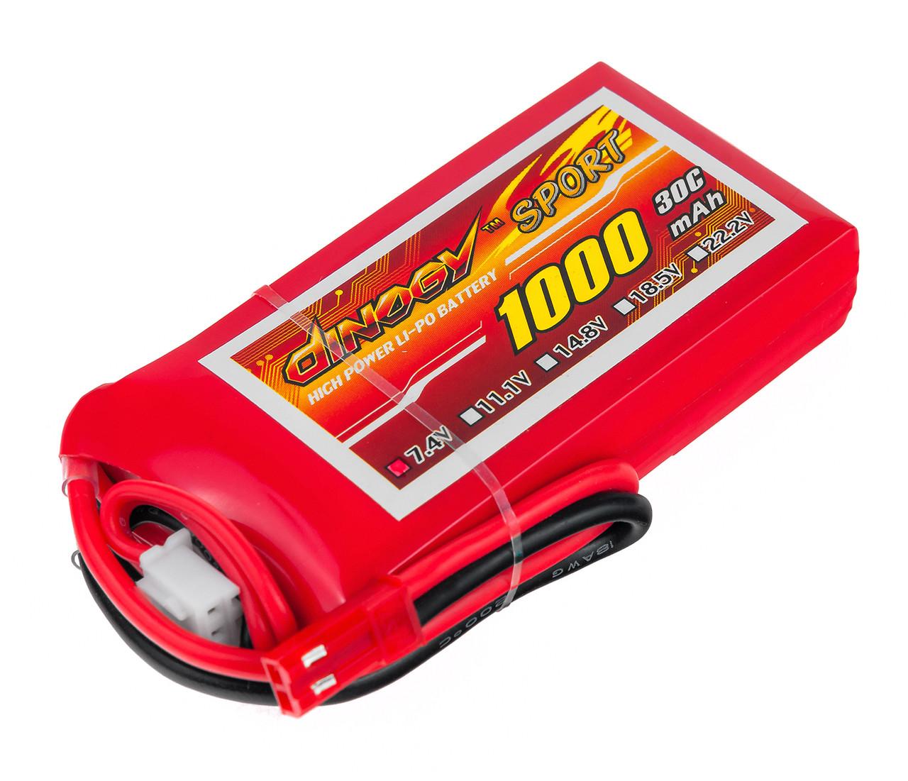 Акумулятор Dinogy Li-Pol 1000mAh 7.4 V 2S 30C 14х35х68мм JST