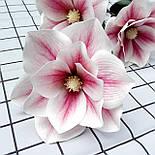 Искусственная ветка магнолии Бело-розовая 95 см  латекс, фото 4