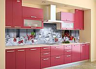 Кухонный фартук самоклеющийся Ледяная Вишня (скинали для кухни наклейка ПВХ) ягоды лед серый 600*2500 мм