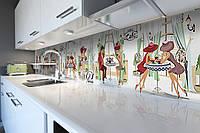 Кухонный фартук самоклеющийся Дамы в шляпах Париж рисованный (скинали для кухни наклейка ПВХ) беж 600*2500 мм