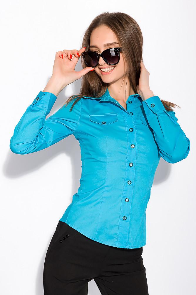 Рубашка женская с длинным рукавом 118P082 (Голубой)