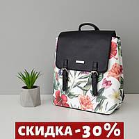 Стильный женский рюкзак с цветами черный с подарком