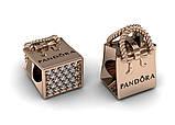Шарм Бусина серебряная Сумочка Pandora  с камнями ШБ-78 Б, фото 2