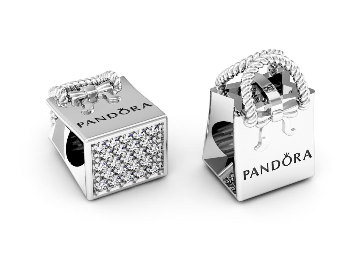 Шарм Бусина серебряная Сумочка Pandora  с камнями ШБ-78 Б