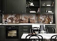Кухонный фартук самоклеющийся Картина пионы ретро кирпичи (скинали для кухни наклейка ПВХ) бежевый 600*2500 мм