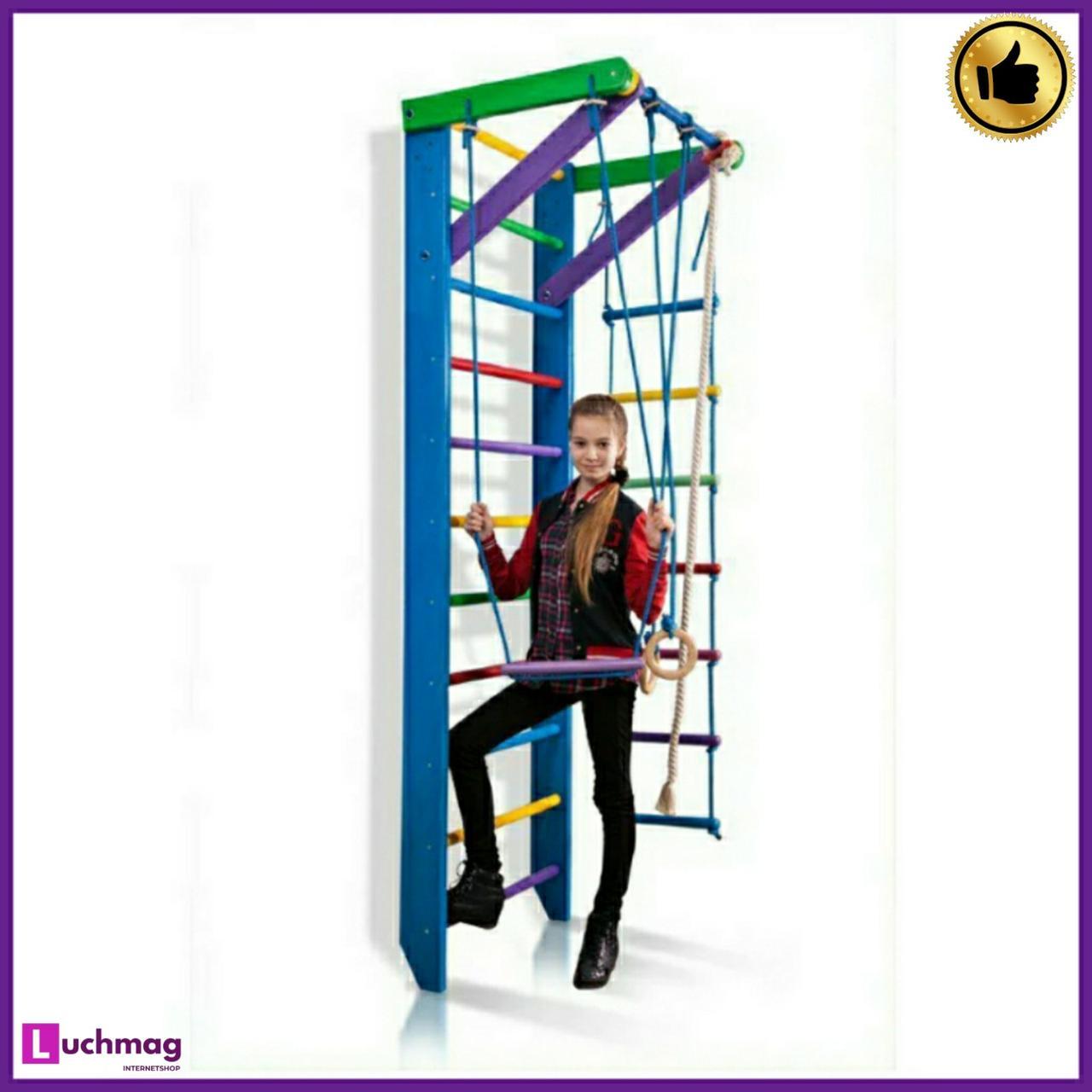 Спортивный деревянный разноцветный уголок «Радуга 2-240» ТМ Sportbaby для детей от 6 лет