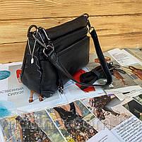 Жіноча шкіряна двостороння сумка через плече чорна, фото 7
