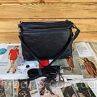 Жіноча шкіряна двостороння сумка через плече чорна, фото 8
