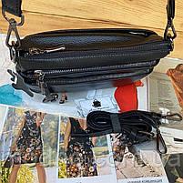 Жіноча шкіряна двостороння сумка через плече чорна, фото 9