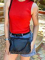 Жіноча шкіряна двостороння сумка через плече чорна, фото 5