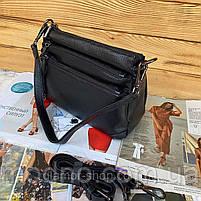 Жіноча шкіряна двостороння сумка через плече чорна, фото 6