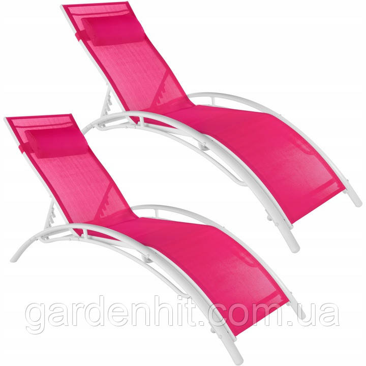 Шезлонги садові TecTake 403342 рожевий комплект 2 шт