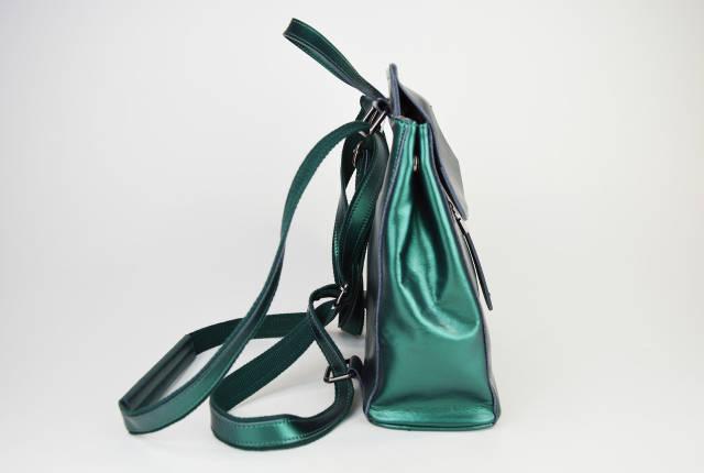 Рюкзак зеленый перламутр 2806 кожа, фото 2