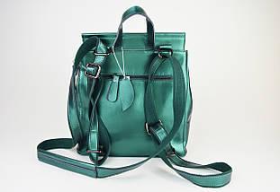 Рюкзак зеленый перламутр 2806 кожа, фото 3