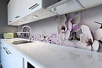 Кухонный фартук Нежная Магнолия (наклейки пленка для стеновых панелей, фиолетовые цветы, 3Д цветы, для кухни)600*2500 мм