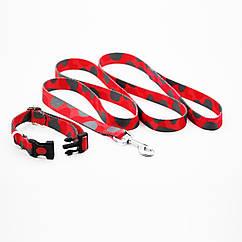 Поводок с ошейником Luxyart Камуфляж 1.5 м Красный с серым DL-497, КОД: 1676894