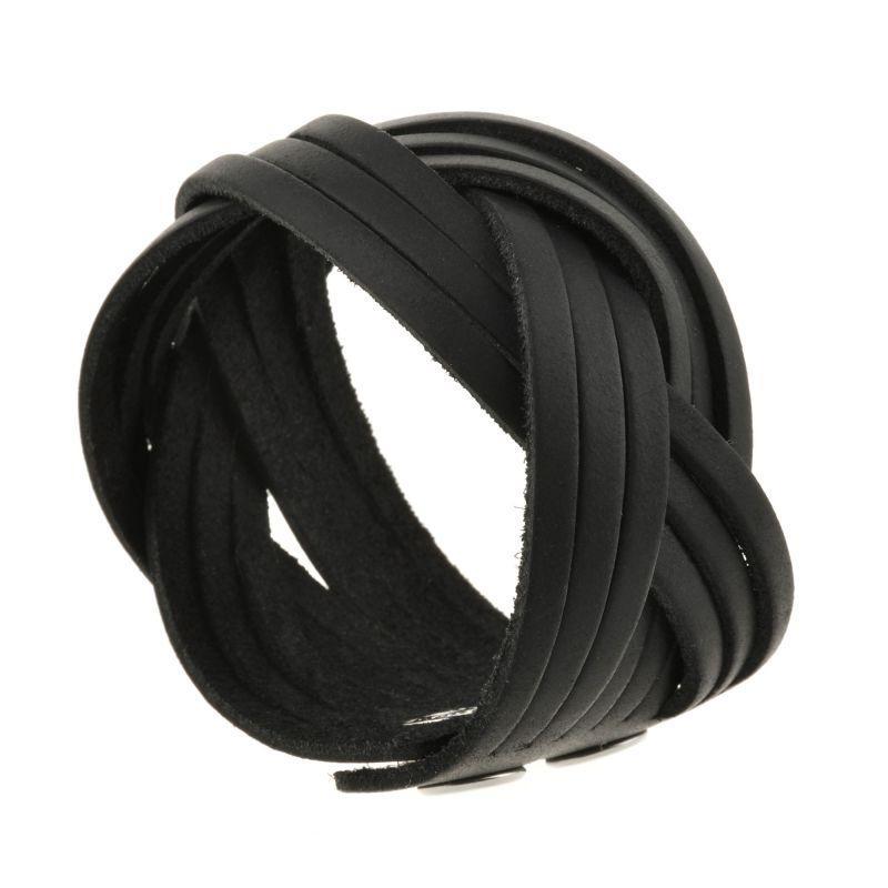 Шкіряний браслет косичка чорний