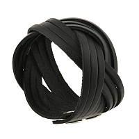 Шкіряний браслет косичка чорний, фото 1