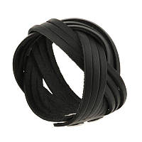 Кожаный браслет косичка черный