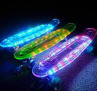 "Скейт Penny Board ""Light Side"". Дека и колеса светятся! Встроенная батарея! (Пенни борд)"