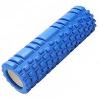Массажный ролик 30 см синий (роллер, валик, цилиндр для йоги, пилатеса и массажа (Реальные фото)