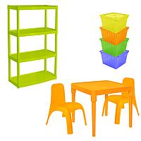Комплект детской мебели Малыш 7 стол + 2 стула + стеллаж + 4 емкости для игрушек 18-100-38, КОД: 1130300
