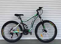 Спортивный велосипед  горный двухподвесный TopRider-910 26дюйма Шимано Дисковые тормоза, зеленый