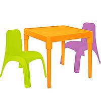 Детский стол для творчества + 2 стула Разноцветные 18-100-30, КОД: 1130292