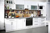 Кухонный фартук самоклеющийся Ретро Фотографии (скинали для кухни наклейка ПВХ) Винтаж бежевый 600*2500 мм