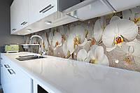 Кухонный фартук самоклеющийся Орхидеи и капли росы 02 (скинали для кухни наклейка ПВХ) бежевый 600*2500 мм