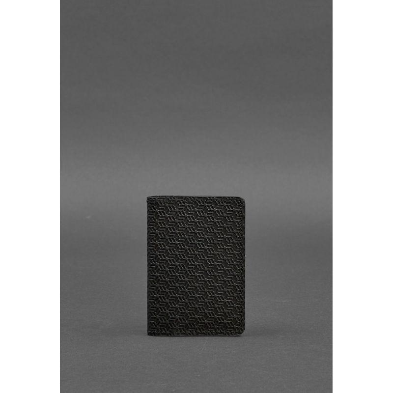 Мужской кожаный кард-кейс 6.0 Карбон черный