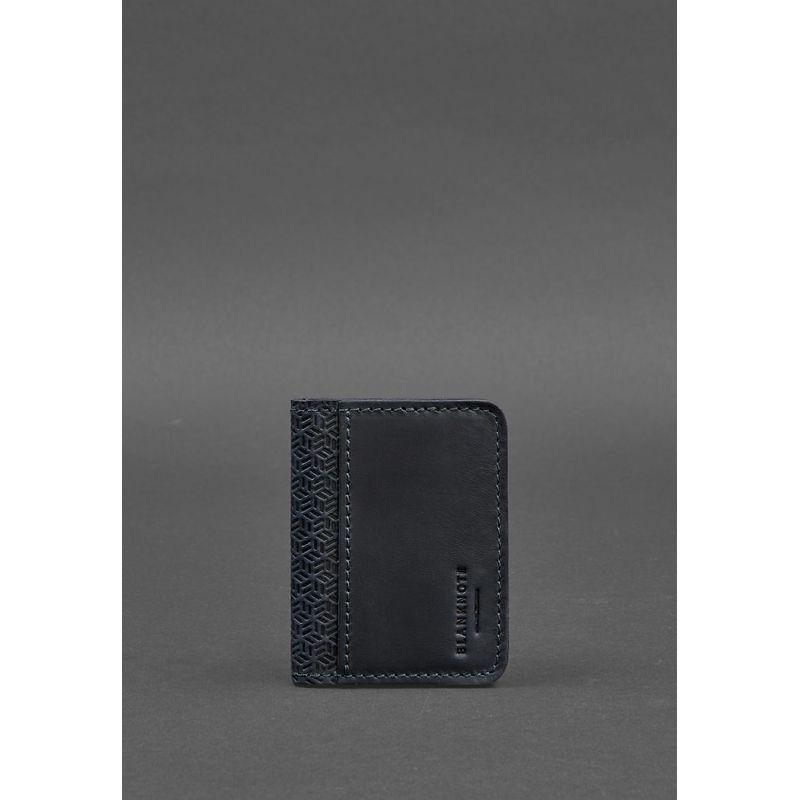 Мужская кожаная обложка для ID-паспорта и водительских прав 4.0 Карбон синяя