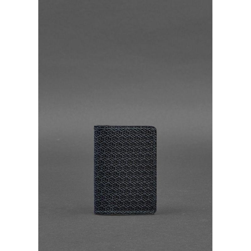 Мужской кожаный кард-кейс 6.0 Карбон синий