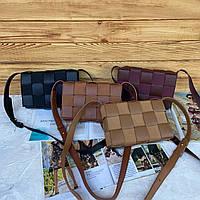 Женская кожаная плетённая сумка на и через плечо Bottega Veneta Боттега Венета реплика