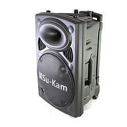 Портативная колонка Su-Kam BT15A + 2 беспроводных микрофона + BT (12v 220v)