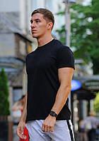 Чорна чоловіча футболка / бавовняні футболки однотонні