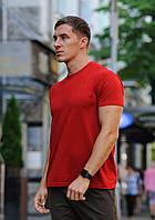 Красная мужская футболка / однотонные хлопковые футболки, фото 1