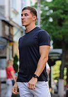 Темно-синяя футболка / однотонные хлопковые футболки, фото 1