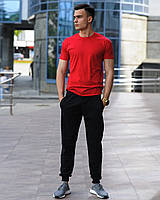 Чоловічий комплект - чорні спортивні штани і червона футболка (весна/літо/осінь), фото 1