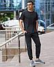 Чоловічий комплект - темно-сірі спортивні штани темно-сіра футболка (весна/літо/осінь)