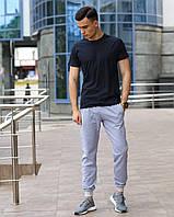Мужской комплект - серые спортивные штаны и черная футболка (весна/лето/осень), фото 1