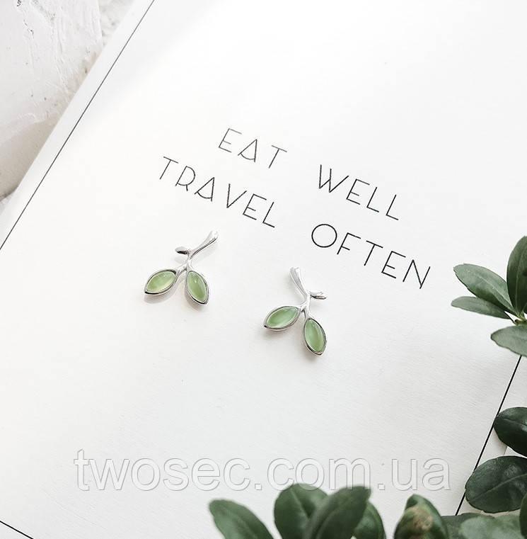 Серьги-гвоздики с камнями Leaf, маленькие сережки-гвоздики листочки под серебро