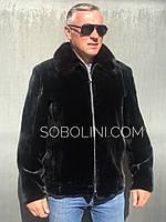 Куртка з хутра бобра з норковим коміром, розміри до 62, фото 1